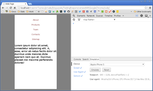 Testing responsiveness with Chrome